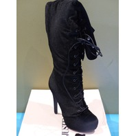 JUST FAB DASHIELLA BLACK VELVET US WOMEN 9 EU 40 HEELED OVER THE KNEE BOOT