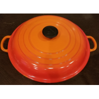 LE CREUSET ENAMELED CAST IRON BRAISER VOLCANIC FLAME RED/ORANGE POT 3.5QT 30CM