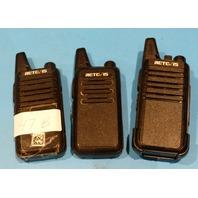 LOT OF 3* RETEVIS RT22 UHF WALKIE TALKIE