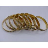 PACK OF 8 EMOJI BANGLES GOLD TONE PRINTED EMOJI 362447
