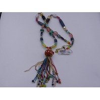 CHICOS MULTI BEADED MADE IN INDIA TASSEL NECKLACE 451007500688