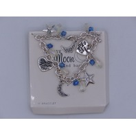 LOVE YOU TO THE MOON AND BACK CHARM BRACELET BEADED SILVER CHAIN 7 1/2""