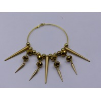GOLD SPIKE HOOP EARINGS LARGE BEADED WITH LARGE MULTIPLE HANGING SPIKES