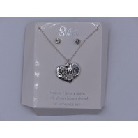 SISTERS MAKE THE BESTFRIENDS NECKLACE AND EARRINGS SET SILVER