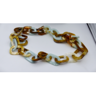 RUSH BY DENIS AND CHARLES RESIN & LUCITE LARGE LINK NECKLACE GREEN AMBER GOLD