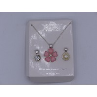 INTERCHANGEABLE PENDANTS NECKLACE PINK FLOWOER HALF PEARL AND CRYSTAL PENDENTS