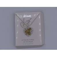 """MOM  BEAUTIFUL SPARKELY HEART SILVER NECKLACE EARRINGS SET 18"""" MOM GOLD DETAIL"""