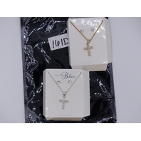 QTY 2 ALWAYS BELIEVE NECKLACE GOLD SILVER MATCHING CROSS SETS +EARRINGS SPARKELY