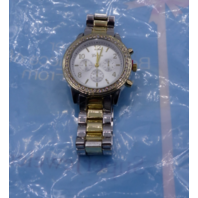 GENEVA WOMENS TWO TONED WHITE/GOLD CHRONOGRAPH WATCH WITH CRYSTAL GEMMED BEZEL