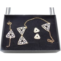 DEJA VU TRIANGLE PENDANT NECKLACE WITH EARRINGS AND BRACELET  TRIANGLE