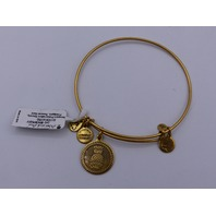 ALEX AND ANI PINEAPPLE BANGLE RUSSIAN GOLD FLAT COIN DANGLE