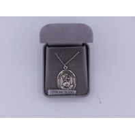 BLISS ST. CHRISTOPHER LARGE PENDANT NECKLACE STERLING SLIVER STAINLESS CHAIN 117