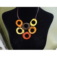 LEJU LONDON VEGETABLE IVORY RED/YELLOW 6 LOOPS NECKLACE