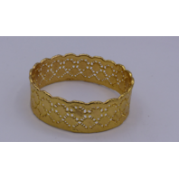 LEJU LONDON GOLD SHORT CUFF CROCHET GOLD WEAVE STRAIGHT EDGED BOTTOM BRACELET