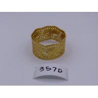 LEJU LONDON GOLD SHORT CUFF FLORAL GOLD BANGLE WEAVE PATTERN  BRACELET