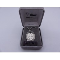 BLISS MIRACULOUS LARGE PENDANT NECKLACE STERLING SILVER STAINLESS CHAIN 7078SS/2