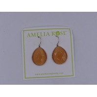 AMELIA ROSE EARRINGS DEW DROP LARGE DEEP TANGERINE ORANGE