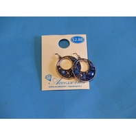 WALMART ACCESSORIES HOOP EARRINGS NAVETTE BLUE HYPO-ALLERGENIC ADX6800137