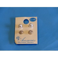 WALMART ACCESSORIES PEARL & DIAMOND STUD SET  ADX6800033
