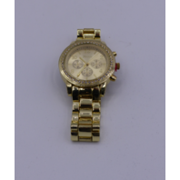 LADIES GENEVA LOOK 3 EYE CHRONO CZ BRACELET WATCH 38MM GOLD  15120