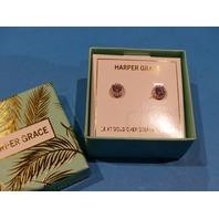 HARPER GRACE 18KT GOLD OVER STERLING SILVER ROUND STUD EARRINGS W/RHINESTONES