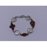 COPPER AND SILVER-PLATED BLESSING BRACELET SAINT JUDE PEREGRINE THERESE MARY CRO
