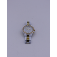 GENEVA WOMENS WHITE/GOLD CHRONOGRAPH WATCH WITH GEMMED BEZEL  15120