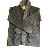 RRL DOUBLE RL RALPH LAUREN BUTTON UPCOTTON WOOL KNIT SHAWL CARDIGAN NAVY M $595