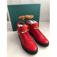 BUSCEMI 100MM PUSH RED/BLACK HIGH TOP LEATHER SNEAKERS 9 US 42 EUR