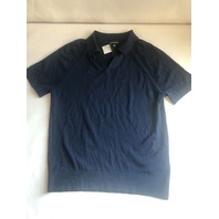 CLUB MONACO SHORT SLEEVE MERINO WOOL SWEATER SHIRT RAGLAN JOHNNY COLLAR NAVY M