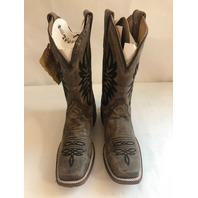 CORRAL SQUARE TOE WESTERN COWBOY BOOTS 8D COWHIDE EMBROIDERED VINTAGE LEATHER