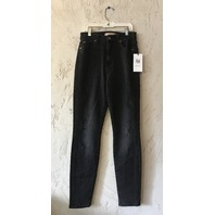 7 FOR ALL MANKIND AUBREY HIGH WAIST ANKLE SKINNY JEAN LUXE VINTAGE COAL SNAKE 30