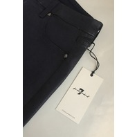 7 FOR ALL MANKIND HIGH WAIST ANKLE SKINNY JEAN IN COATED BLACK 28