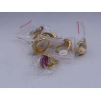 LOT OF 7* GENERIC GOLD & RED RINGS JEWELRY SIZE 13