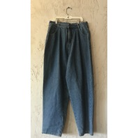OAK PLEATED BAGGY JEANS LAPIS WASH WOMENS SIZE 31
