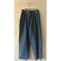 OAK PLEATED BAGGY JEANS LAPIS WASH WOMENS SIZE 28