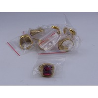 LOT OF 8* GENERIC GOLD & RED RINGS JEWELRY SIZE 12