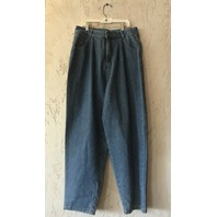 OAK PLEATED BAGGY JEANS LAPIS WASH WOMENS SIZE 30