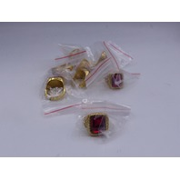 LOT OF 8* GENERIC GOLD & RED RINGS JEWELRY SIZE 11