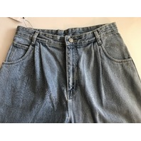OAK PLEATED BAGGY JEANS BLOWOUT WASH WOMENS SIZE 28