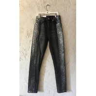 7 FOR ALL MANKIND HIGH WAIST ANKLE SKINNY JEANS SIZE 24 BLACK WITH GLITTER