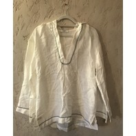 MARYSIA DUNMORE HOODED TUNIC LONG SLEEVE IN WHITE W/ SEA FOAM