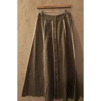 MARYSIA TAN PANELED 3/4 LENGTH SKIRT W/ WHITE CONTRAST EDGE