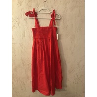 MARYSIA LAHAINA SMOCKED SWISS DOT WIDE STRAP RED DRESS