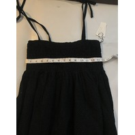 MARYSIA LAHAINA SMOCKED BABY DOLL DRESS EYELET SHEER BLACK