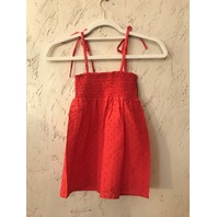 MARYSIA SMOCKED BABYDOLL STRAP DRESS RED SWISS DOT