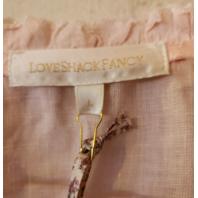 LOVE SHACK FANCY DEACON DRESS DUSTY PINK LINEN EMBROIDERED RUFFLE LD694-494 L