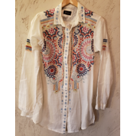 BIYA JONNY WAS LONG SLEEVE EMBROIDERED COTTON BLOUSE TUNIC MEDIUM M NWOT
