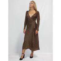 ATTICO JACQUARD MAXI DRESS IN BROWN  SIZE 36