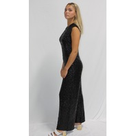 NORMA KAMALI OVERLAPPING SEQUIN SLEEVELESS JUMPSUIT IN BLACK SIZE M